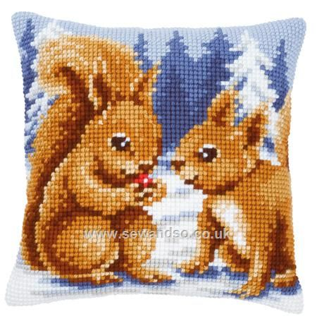 """PRINTED CANVAS: Squirrels with Berry Cushion Front Chunky Cross Stitch Kit - 16"""" x 16"""" (40cm x 40cm). Price reduced to £25.92 5/10/14 This cushion front kit contains needle, full colour printed canvas and yarns and is worked using a full cross stitch.Chunky Cross Stitch © Vervaco"""