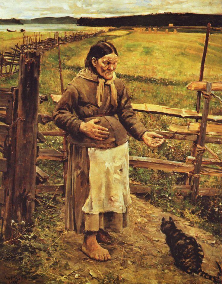 Old Woman and Cat (1885) - Akseli Gallen-Kallela (1865 - 1931)