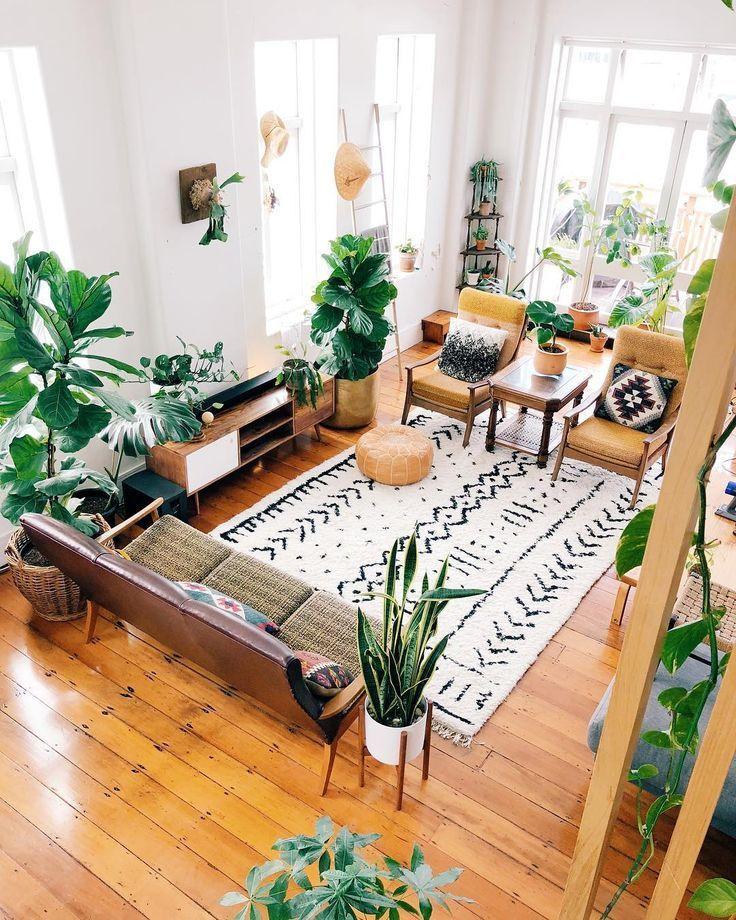 All diese Pflanzen! Wirklich hübsch mit einem weißen Shabby Chic Wohnzimmer