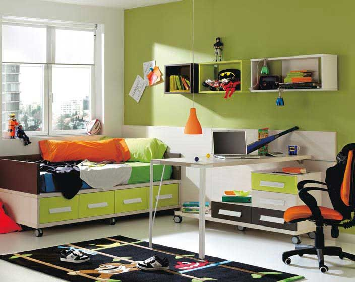 Green/blue/orange Color Scheme · Green Boys RoomModern ...
