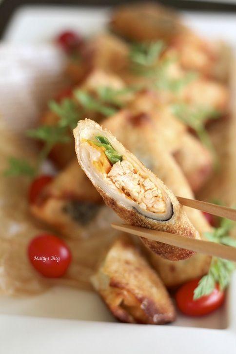 鶏胸肉の韓国風春巻き、鶏の茹で汁で力うどん