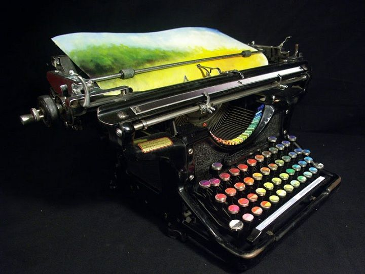 """Color printing machine by Tyree Callahan    Color printing machine"""" – the object of conceptual art, created by Tyree Callahan. American artist from Bellingham, Washington converted Underwood Standard typewriter in 1937, replacing the letters and keys with different colors."""