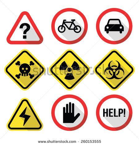 Warning signs - danger, risk, stress - flat design by RedKoala #help #skull #biohazard