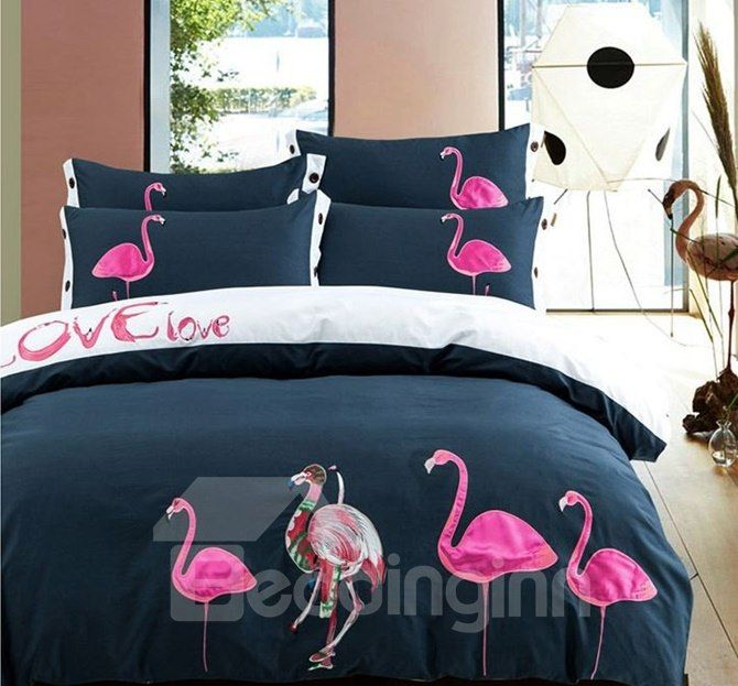 Elegant Pink Flamingo Embroidery 4 Piece Cotton Bedding Sets Duvet Cover Shabby Chic Bedding Sets Bed Linens Luxury Bedding Sets