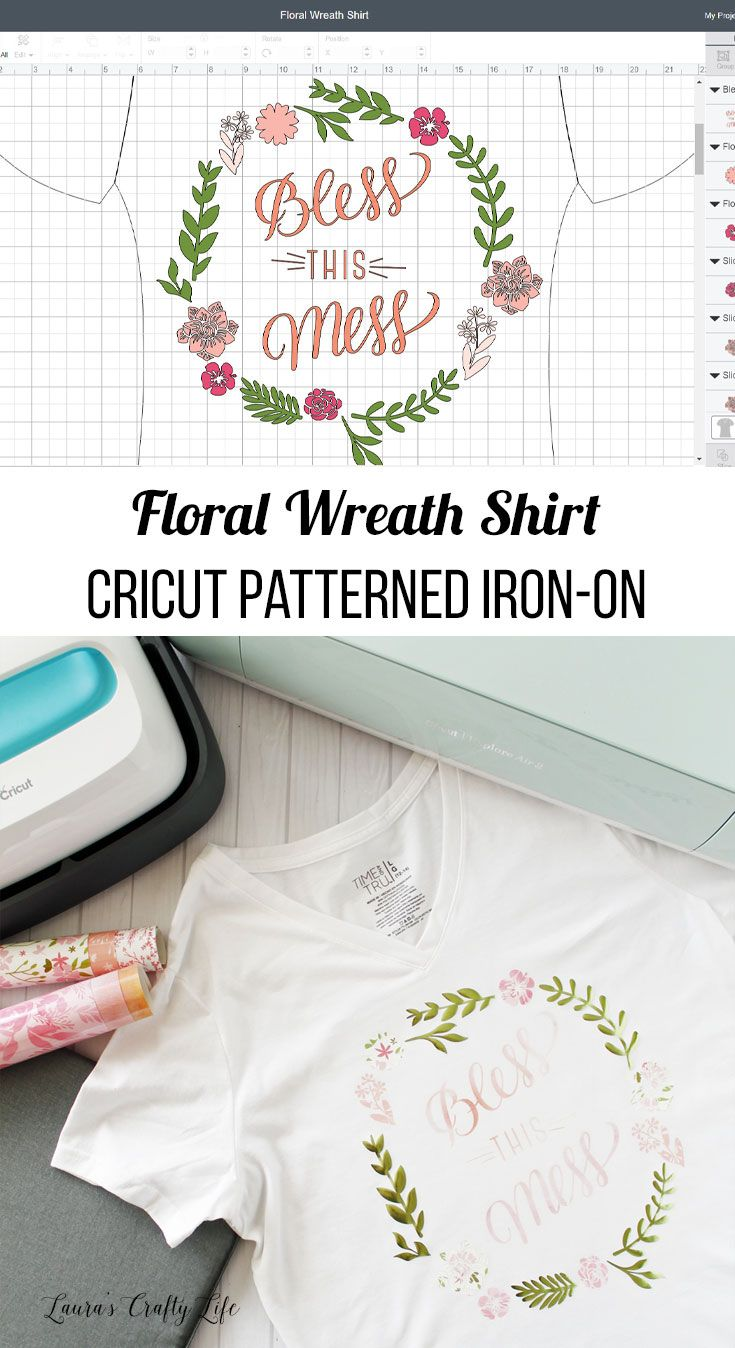 e4d7a70c60a79 Floral Wreath Shirt with Cricut Patterned Iron-On | Cricut Addiction ...