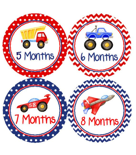 Baby Month Stickers Red and Blue Trucks & by customprintgallery