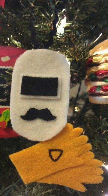 Welders helmet & gloves felt ornament....made it just for daddy!!!