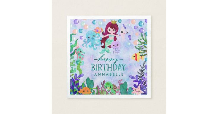 Cute Ocean Animals Mermaid Theme Happy Birthday Napkin