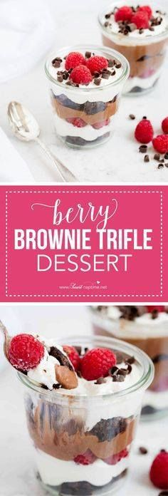 Berry brownie trifle Berry brownie trifle dessert made with...  Berry brownie trifle Berry brownie trifle dessert made with layers of chocolate pudding cream and brownies. SO yummy! Recipe : http://ift.tt/1hGiZgA And @ItsNutella  http://ift.tt/2v8iUYW