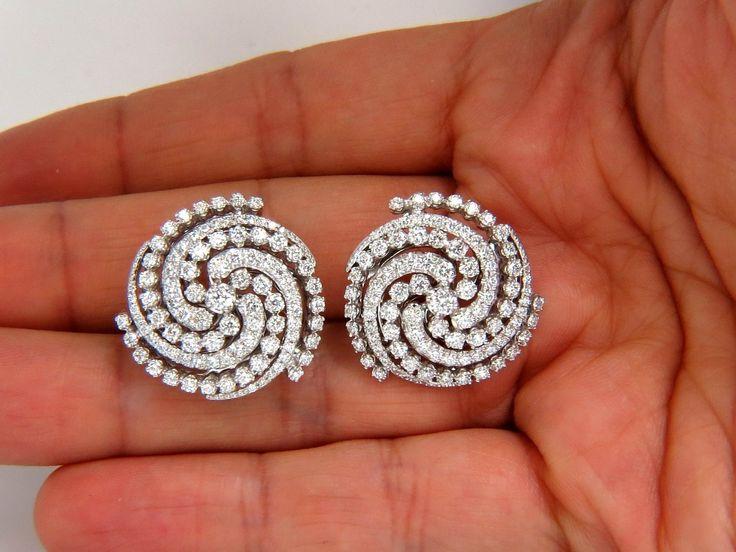 $15000 4.25CT SPIRAL KALEIDOSCOPE CIRCULAR ROTARY TWIST 18KT DIAMONDS EARRINGS | eBay