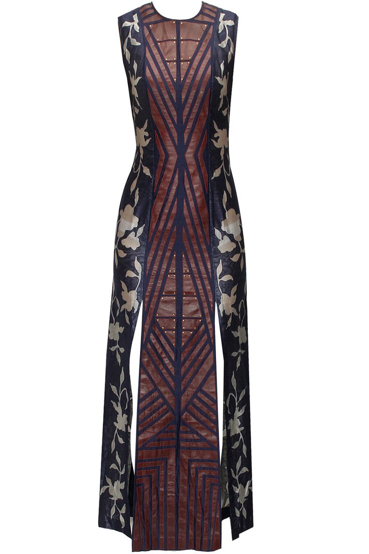 Floral print leather applique work dress available only at Pernia's Pop-Up Shop. I like the concept sans the leather.