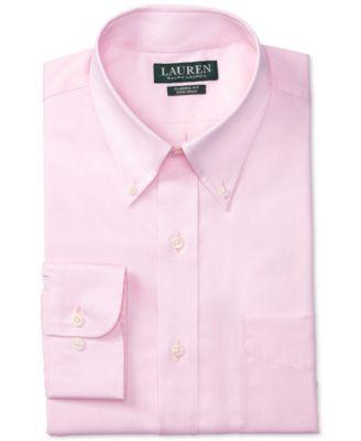 Lauren Ralph Lauren Classic-Fit Non-Iron Solid Pink Dress Shirt - Pink 16.5 32/33