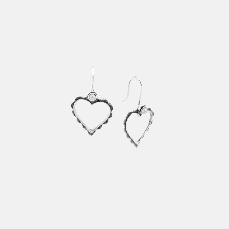 E2601 Patterned heart cut-out #earrings in burnished #silver with white #pearl french wires - www.miglio.com