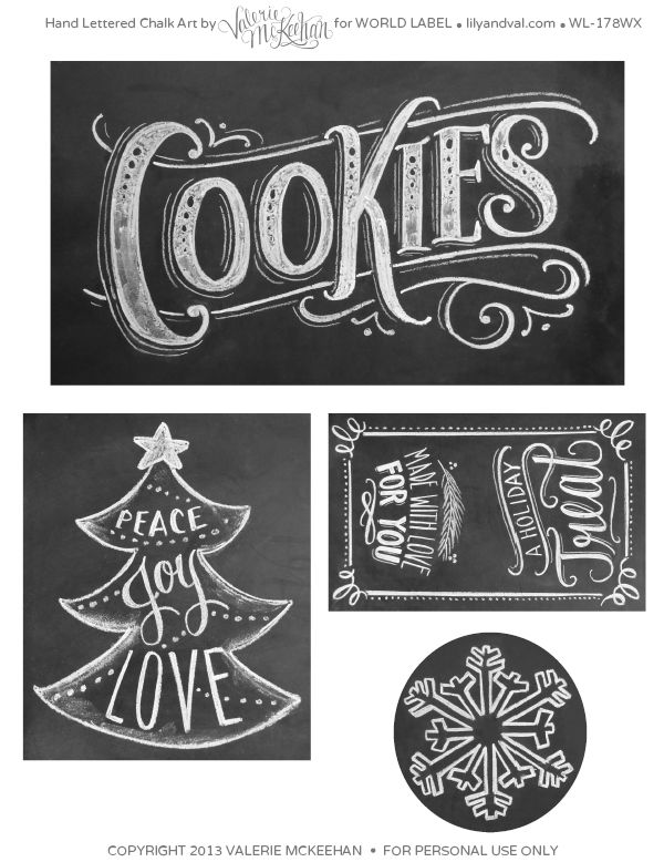 Free Printables } Holiday chalkboard labels by @Valerie (Henderson) McKeehan