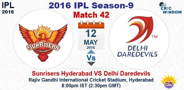 IPL 2016: Match 42 : Hyderabad vs Delhi Live Toss: Delhi won the toss and Elected to Field first http://www.cricwindow.com/cricket_live_scores.html http://www.cricwindow.com/cricket-live-match-video.html