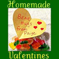 Homemade Valentines requiring construction paper, tape, markers and baggies.