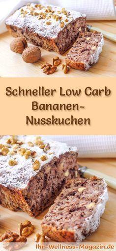Rezept für einen Low Carb Bananen-Nusskuchen - kohlenhydratarm, kalorienreduziert, ohne Zucker und Getreidemehl