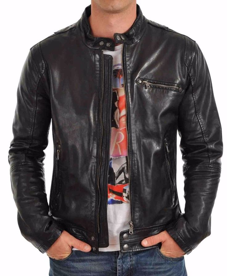 New Men's Genuine Lambskin Leather Jacket Slim fit Biker Motorcycle jacket-MX01 #LeatherLifestyle #Motorcycle