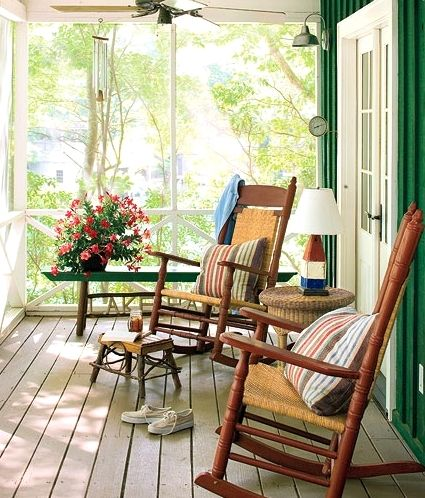 A house is not a home without a porch. Love these rocking chairs. Rocking chairs, rocking babies, rock a bye, rock of ages...side by side we'll be together always...Ricky Van Shelton and Dollie Parton sang this song.