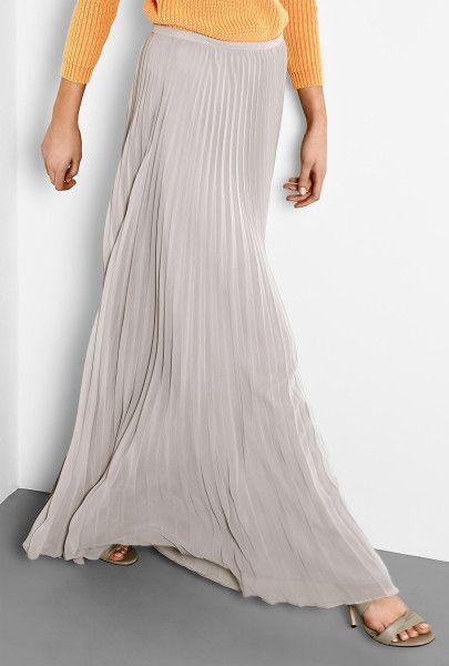Halston Heritage Grey Pleated Maxi Skirt in Gray (grey)