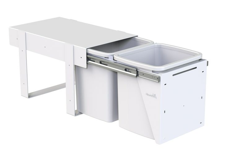 Hideaway Compact model: KCF215D. 2 x 15 litre buckets, door pull. Floor mounted. A quality and robust under the sink solution. Fits a standard supermarket shopping bag.