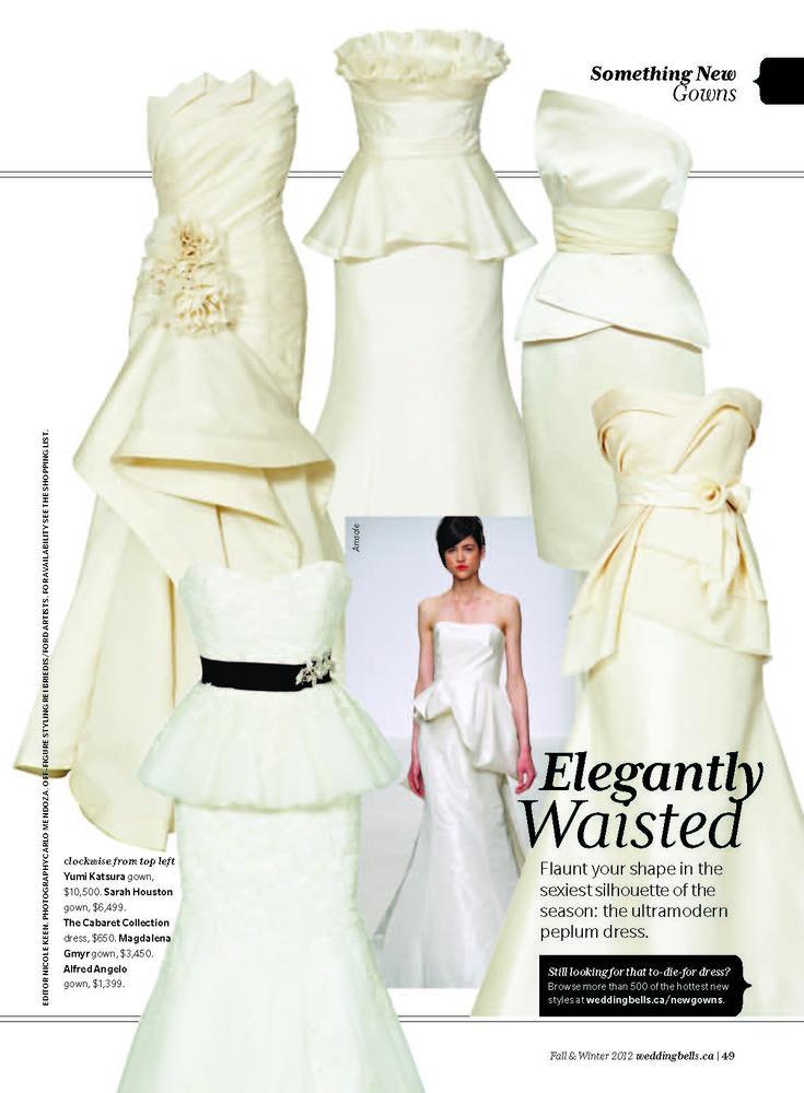 I like the first one... peplum wedding dress