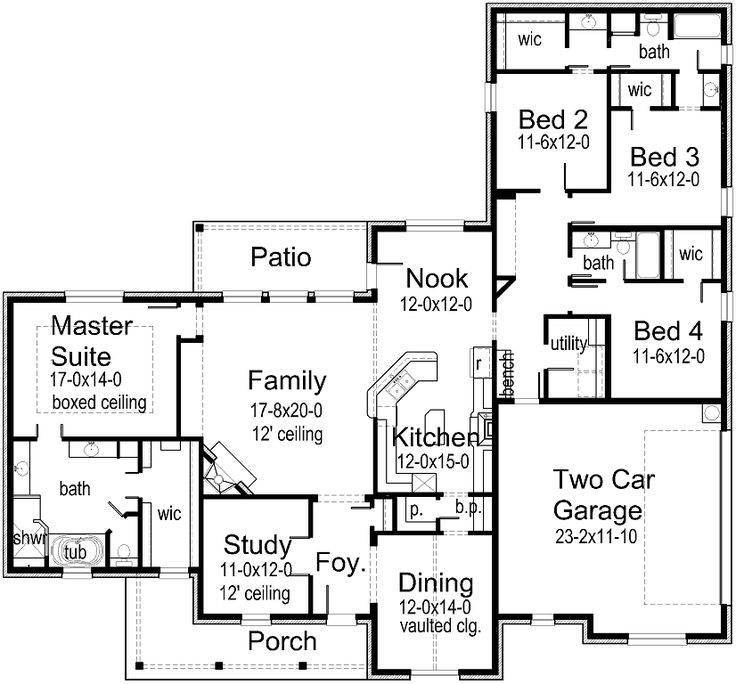 I would be tempted to take down the wall between bedrooms 2 and 3 and make a 2nd suite, leaving bedroom 4 as a guest area with a small craft spot for myself.