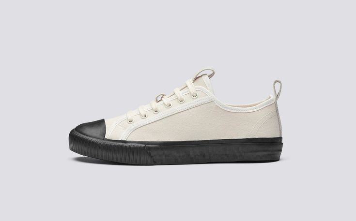 Low Top | Womens Sneaker in White Canvas with Black Rubber Sole | Grenson Shoes - Side View