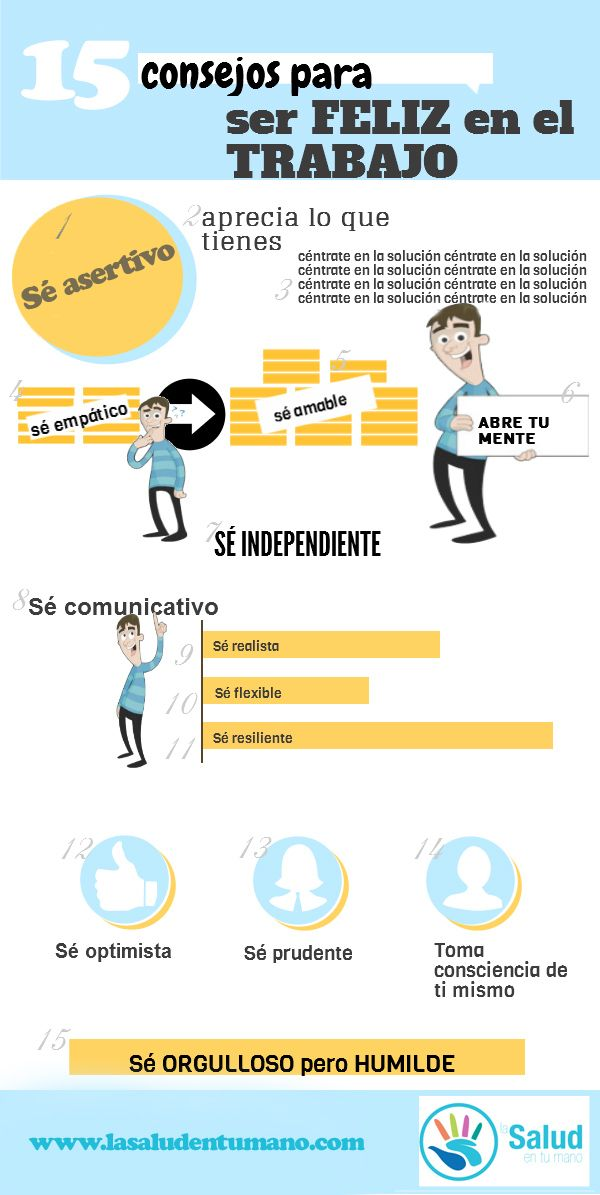 15 consejos para ser feliz en el trabajo #infografia #infographic