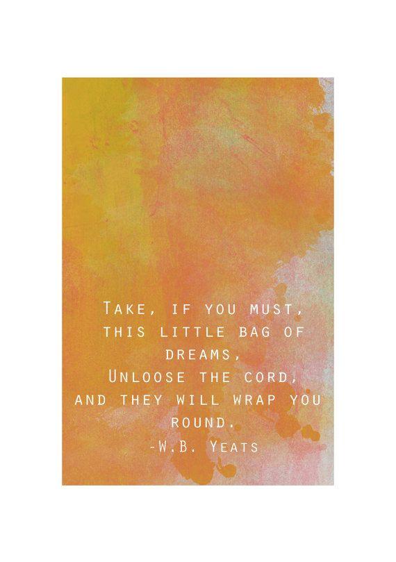 W.B. Yeats quote art print by FireflyDesignsArt on Etsy