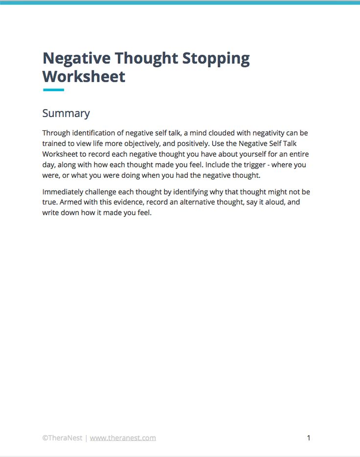 Negative Self Talk Worksheet Self Esteem Worksheets