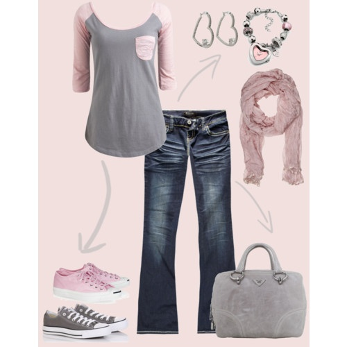 Pink and grey converse outfit!