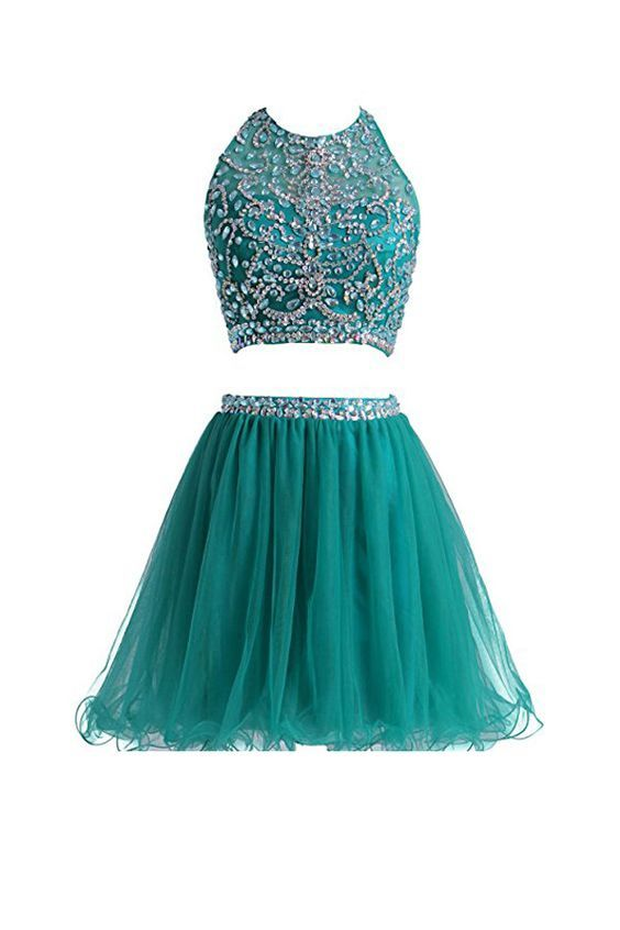 Two Pieces Tulle Short with Beaded Homecoming Dresses