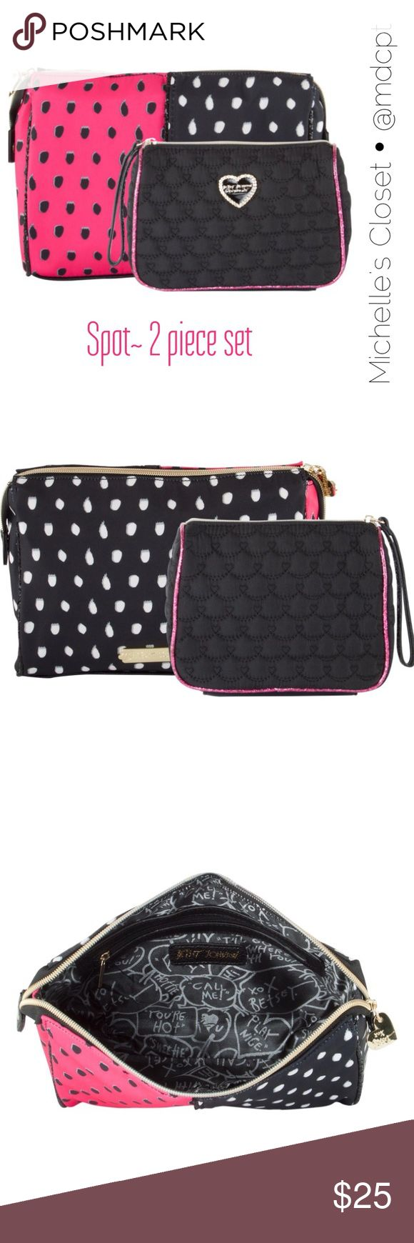 "Betsey Johnson Cosmetic Set Selling on Amazon and E-bay for $30.  2 piece set in fushia/ black.  Larger bag with snap sides is 9x6x3"".  Wristlet pouch with glitter piping is 8x6x2.5"".  Cosmo. Betsey Johnson Bags Cosmetic Bags & Cases"