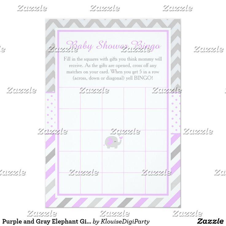 Purple and Gray Elephant Girl Baby Shower Bingo Card