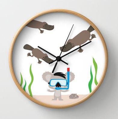 Swim Koala, Swim wall clock http://society6.com/inkrobin/Swim-Koala-Swim_Wall-Clock#33=282&34=286