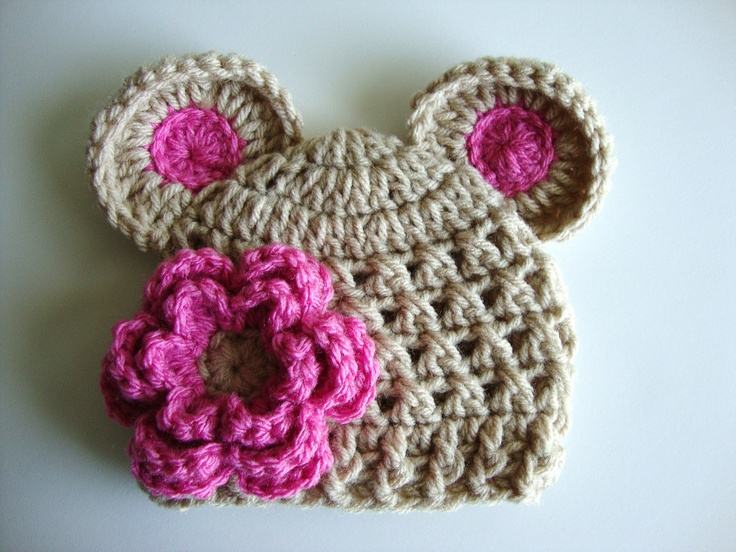 Baby Girl Crochet Hat wih Ears and Flower by ...