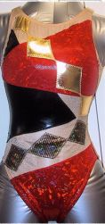 syncro swimming costume action fit red diamond silver black action fit front