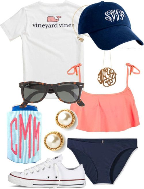southernbombshell23:   Lake day by norabrasher featuring j crew ❤ liked on Polyvore Vineyard Vines  t shirt / Roxy neon bikini / Patagonia  swimwear / Aqua/Turquoise and White Seersucker, Monogrammed Koozie / Converse  shoes / Kate Spade / Ginette_NY lace monogram necklace / Caps hat / J.Crew j crew