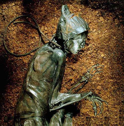 This is an example of a bog body like the one Sarah would have examined. Found in the peat bogs of northern Europe, the lack of oxygen in the water, as well as natural tannins, help mummify the bodies left there.  Evidence of murder and/or torture is often present.