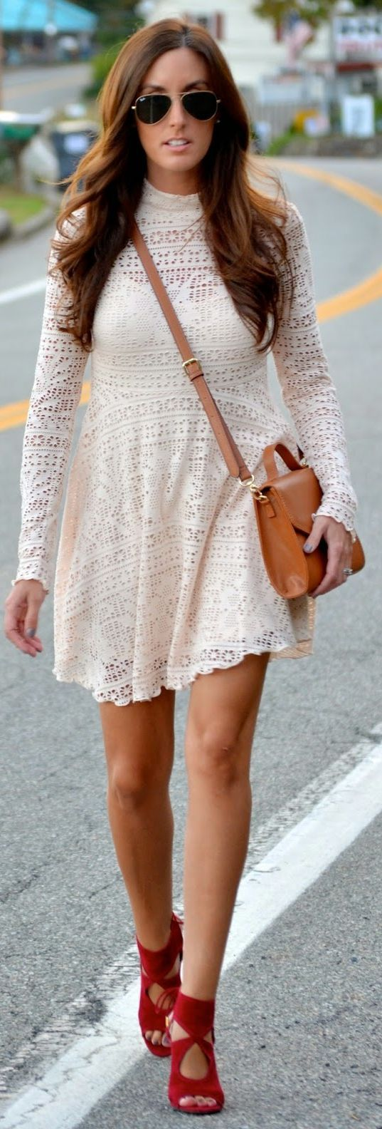 Cream Lace Long Sleeve Stand Collar Mini Dress