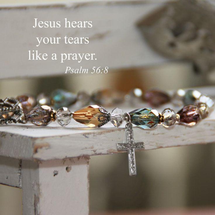 Swarovski Crystal Scripture Verse Bracelet   Jesus Hears Your Tears Like a Prayer   Psalm 56:8