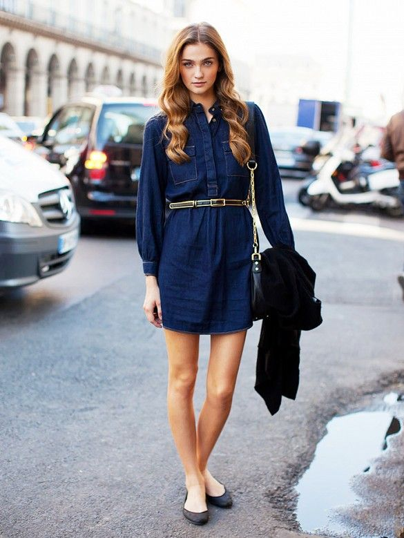 Denim dress with a belt and simple ballet flats