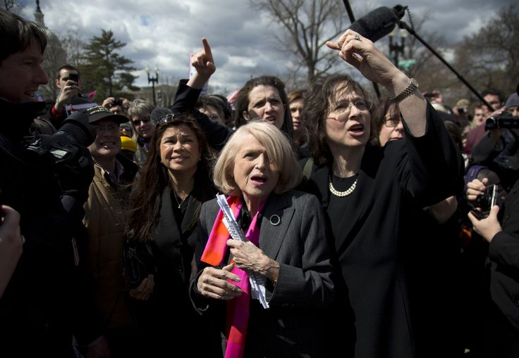 DOMA plaintiff Edie Windsor, 84, who had sued the federal government after the Internal Revenue Service denied her refund request for the $363,000 in federal estate taxes she paid after her spouse, Thea Spyer, died in 2009.