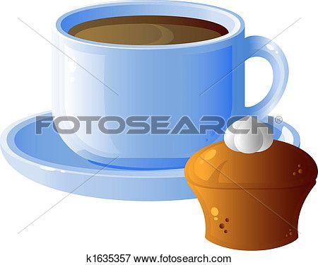 kop van koffie, en, taart Bekijk Grotere Grafiek