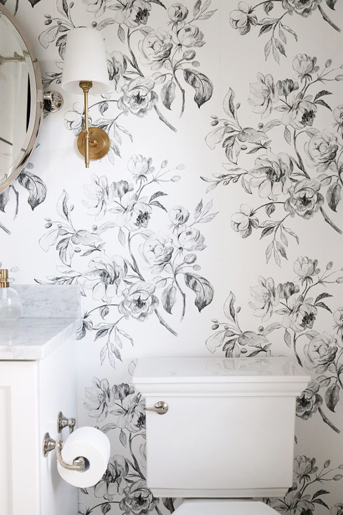 A Black And White Floral Bathroom Danielle Moss Floral Bathroom Floral Tile Bathroom Black And White Wallpaper