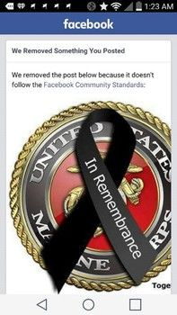 Image of USMC emblem yanked by Facebook.  According to Facebook this image violated their community standards.