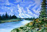 Рисуем гуашью картину - Горный пейзаж