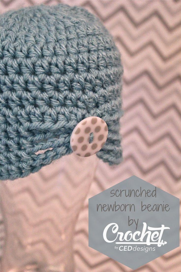 CEDdesigns: Scrunched Newborn Beanie: FREE Pattern. Crocheted ...