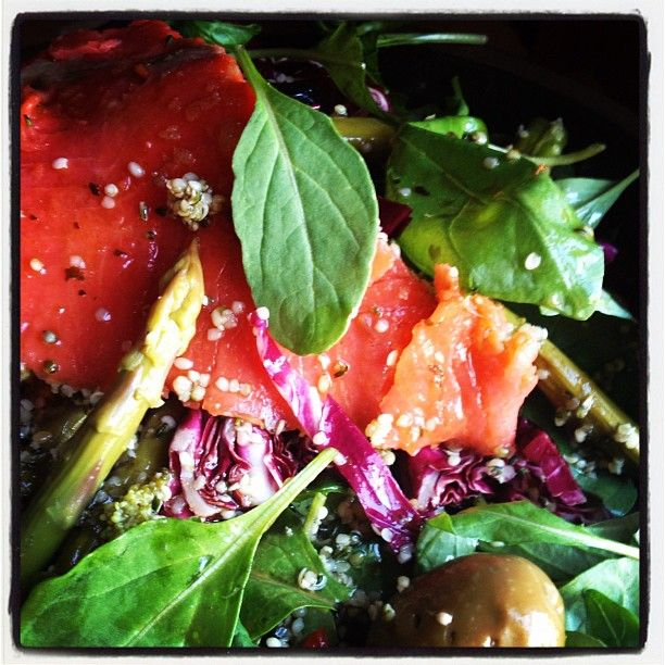 """Try salad for breakfast and have happy energy all day long- radicchio and arugula, hemp hearts and olives, asparagus and salmon """